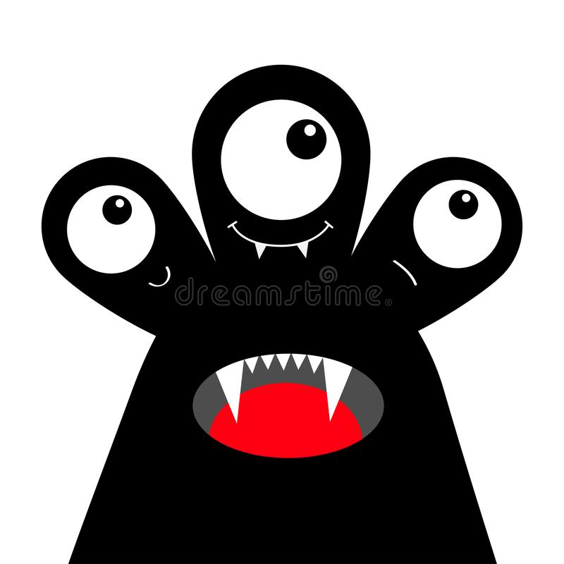 Silhouette de noir de t?te de monstre Veille de la toussaint heureuse Trois yeux, croc de dents, langue Caract?re dr?le de kawaii illustration libre de droits