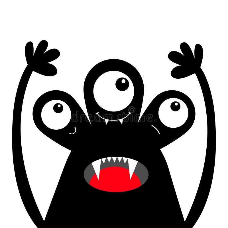 Silhouette de noir de t?te de monstre Veille de la toussaint heureuse Trois yeux, croc de dents, langue, mains  Caract?re dr?le d illustration de vecteur