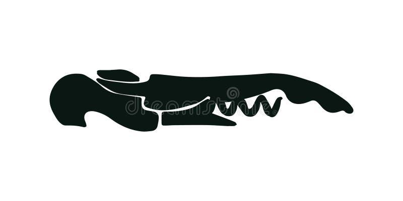 Silhouette de noir de tire-bouchon sur le fond blanc photos stock