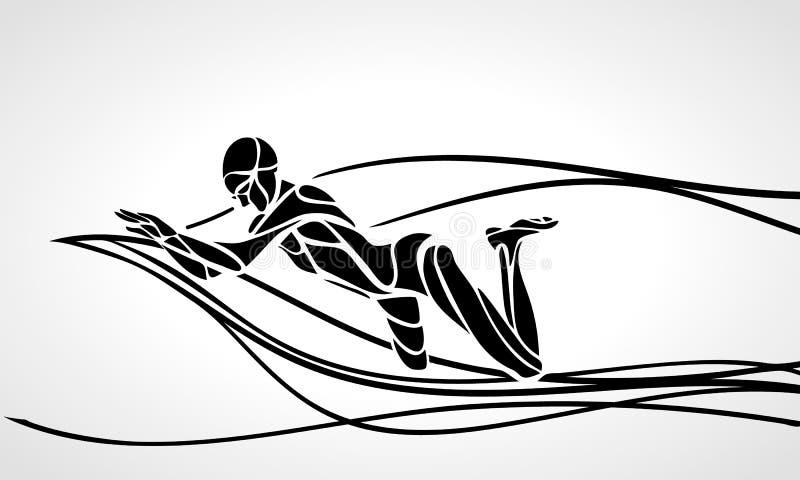 Silhouette de noir de vecteur de Breaststroke de nageur illustration de vecteur