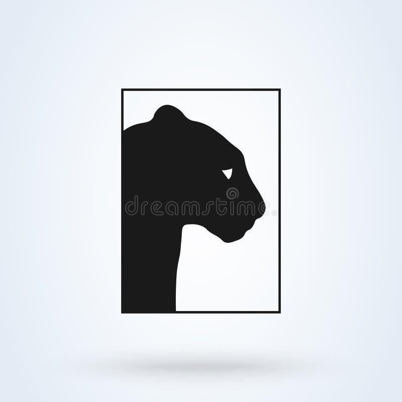 Silhouette de noir de vecteur d'icône de tigre D'isolement sur le fond blanc illustration de vecteur