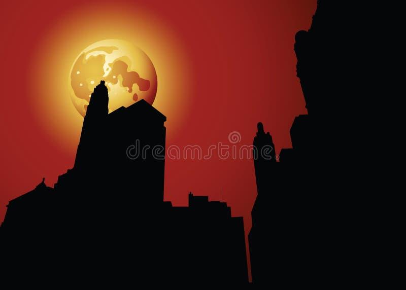 Silhouette de nuit de Chicago illustration stock