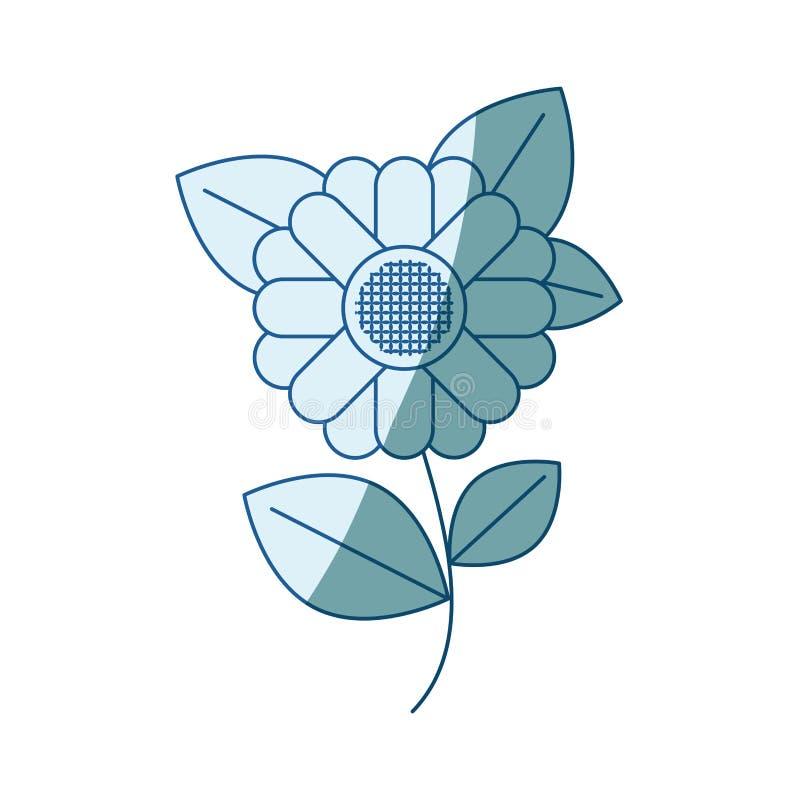 Silhouette de ombrage bleue de tournesol abstrait de tige et de feuilles en plan rapproché illustration stock