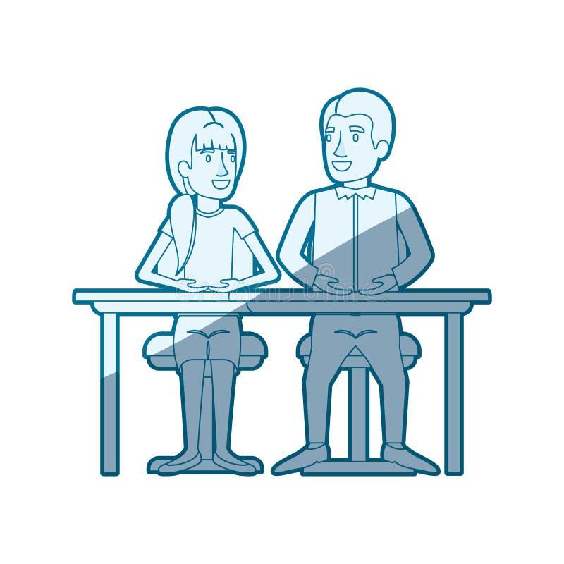 Silhouette de ombrage bleue de travail d'équipe de la femme et l'homme s'asseyant dans le bureau et elle avec la coiffure de queu illustration libre de droits