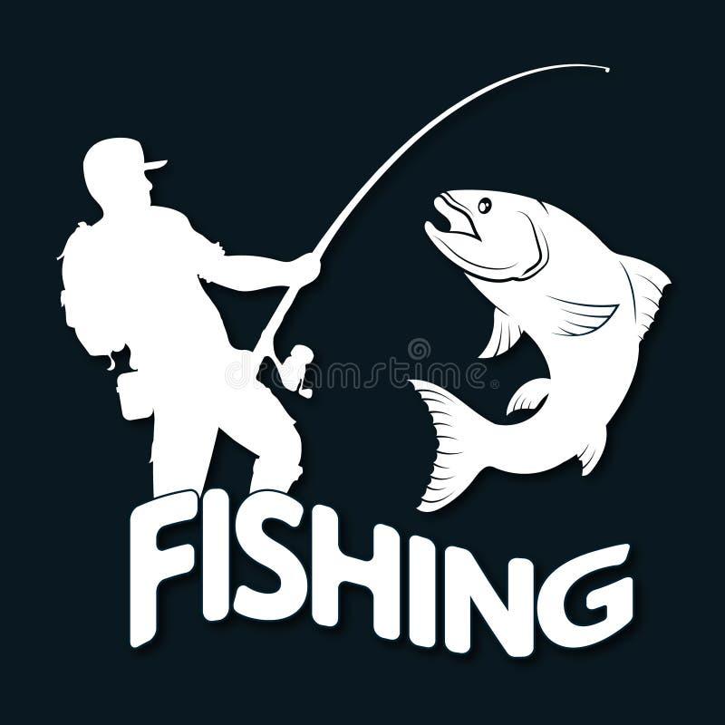 Silhouette de pêcheur et de poissons illustration libre de droits