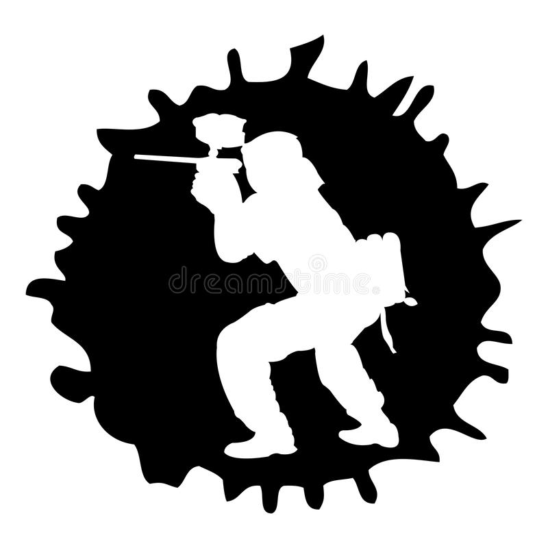 Silhouette de Paintball dans la baisse illustration stock