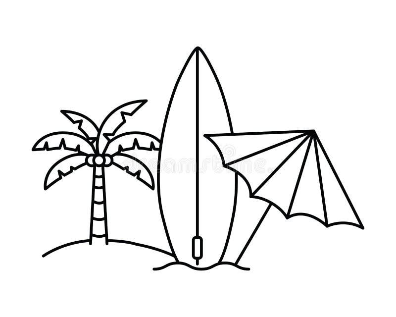 Silhouette de palmier avec la planche de surf à l'arrière-plan blanc illustration libre de droits