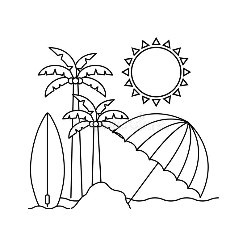 Silhouette de palmier avec la planche de surf à l'arrière-plan blanc illustration de vecteur