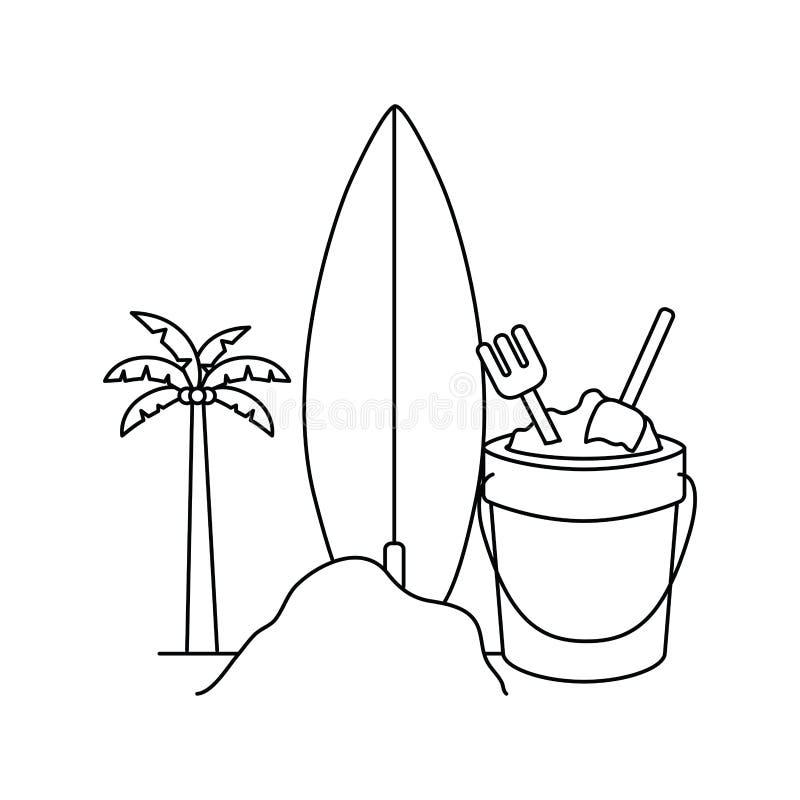 Silhouette de palmier avec la planche de surf à l'arrière-plan blanc illustration stock