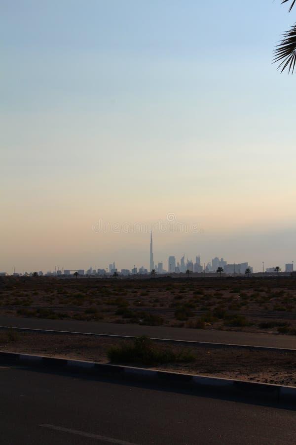 Silhouette de palmier de date de ciel de skylne d'avion de khalifa de burj d'horizon de Dubaï de vacances de voyage photo libre de droits