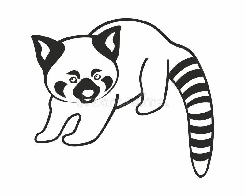 Silhouette de panda rouge d'isolement sur le fond blanc illustration de vecteur