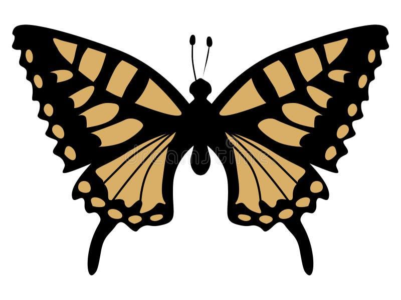Silhouette de papillon de machaon illustration de vecteur