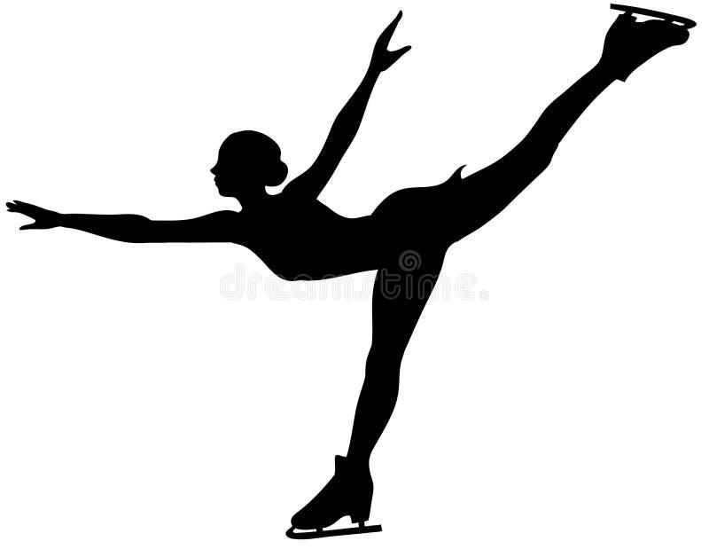 Silhouette de patineur de glace - femme d'isolement illustration stock