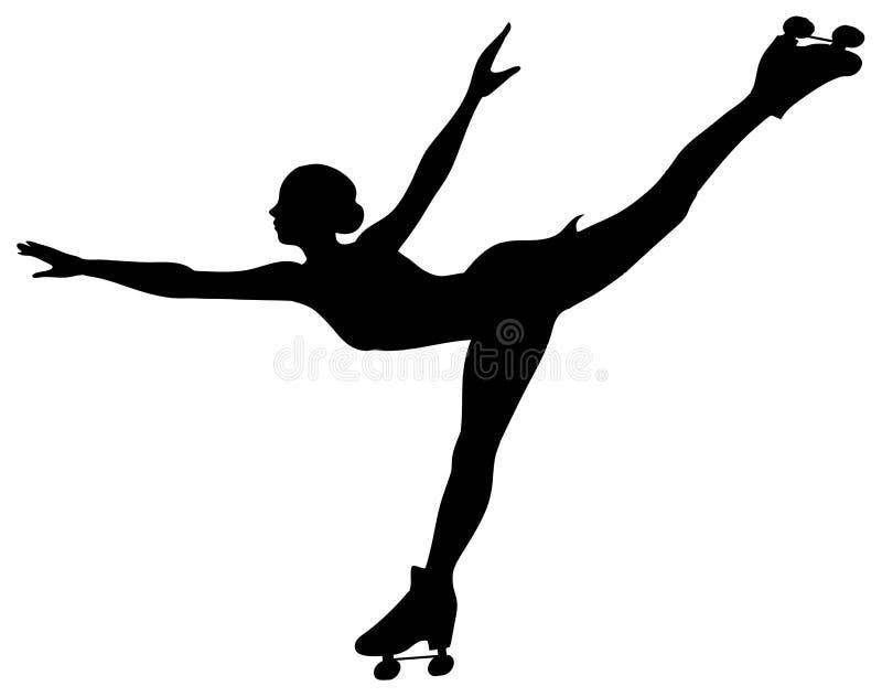 Silhouette de patineur de rouleau - femme d'isolement illustration stock