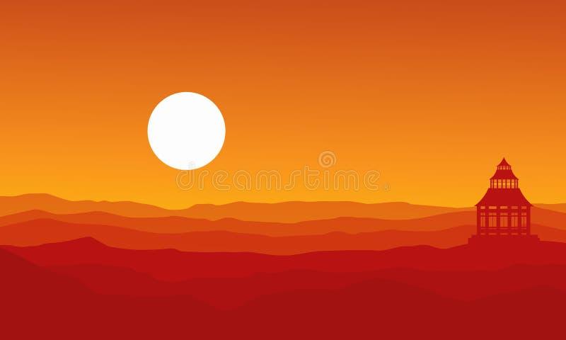 Silhouette de pavillon sur le paysage de désert illustration libre de droits