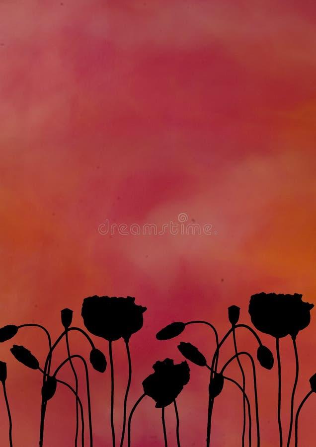 silhouette de pavot de fleur illustration stock