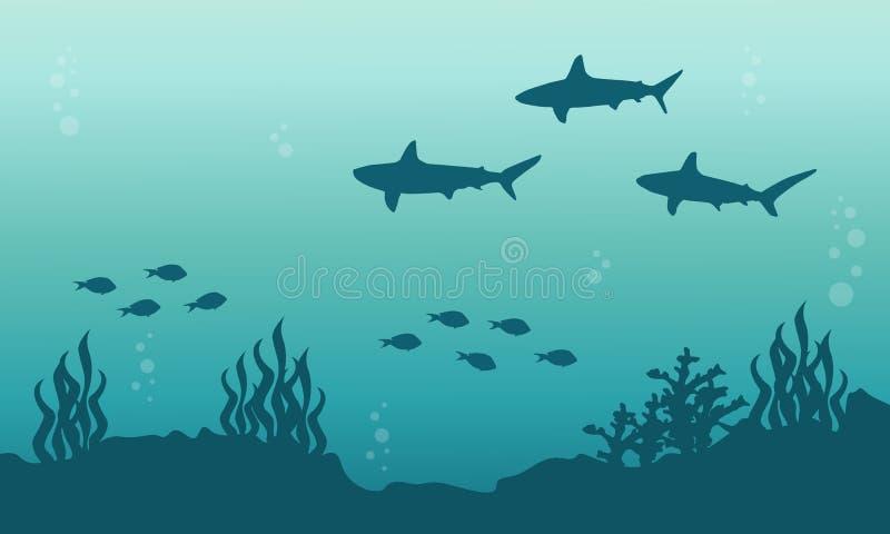 Silhouette de paysage sous-marin de requin et de poissons illustration de vecteur