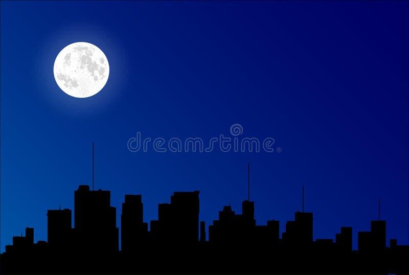 Silhouette de paysage urbain avec la pleine lune illustration libre de droits