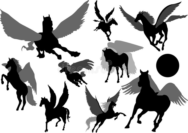 Silhouette de Pegasus illustration libre de droits