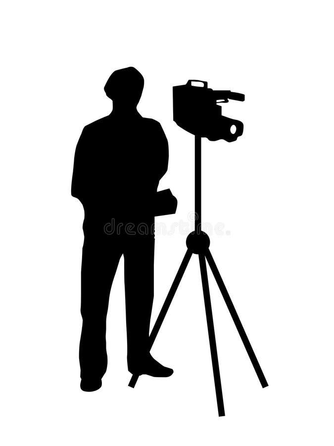 Silhouette de pelliculage de cameraman illustration stock