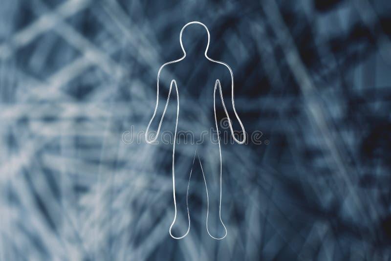 Silhouette de personne au-dessus de fond de réseau illustration libre de droits