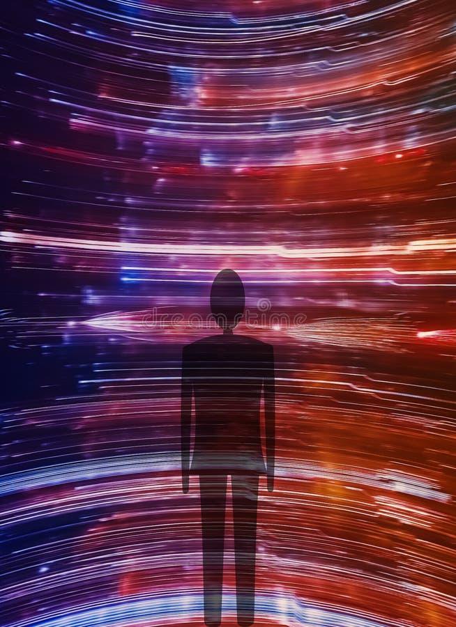 Silhouette de personne sur des traces de lumière photographie stock