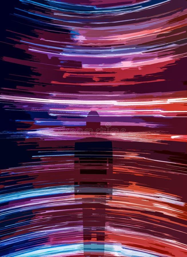 Silhouette de personne sur des traces de lumière images stock