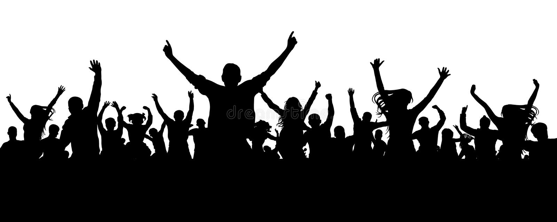 Silhouette de personnes d'acclamation de foule Assistance de applaudissement illustration libre de droits
