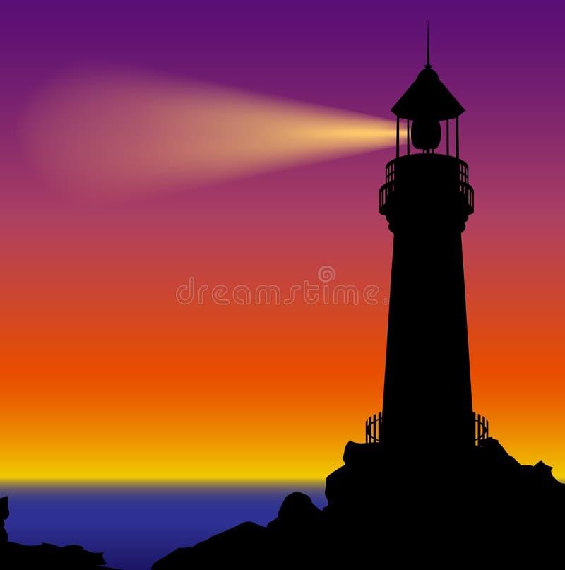 Silhouette de phare dans le coucher du soleil illustration de vecteur