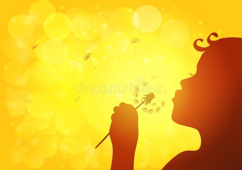 Silhouette de pissenlit de soufflement de fille illustration stock