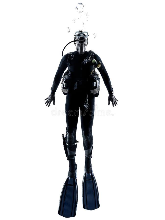 Silhouette de plongée de plongeur autonome d'homme d'isolement photos stock