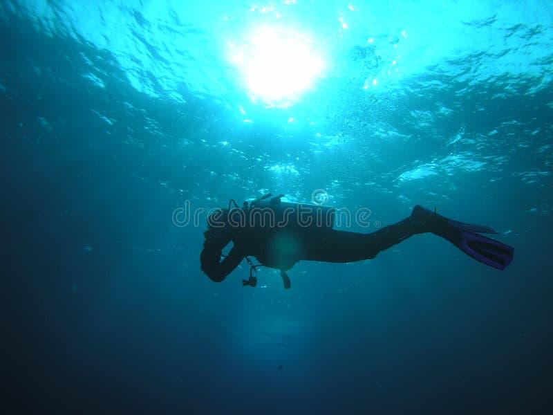 silhouette de plongeur photographie stock