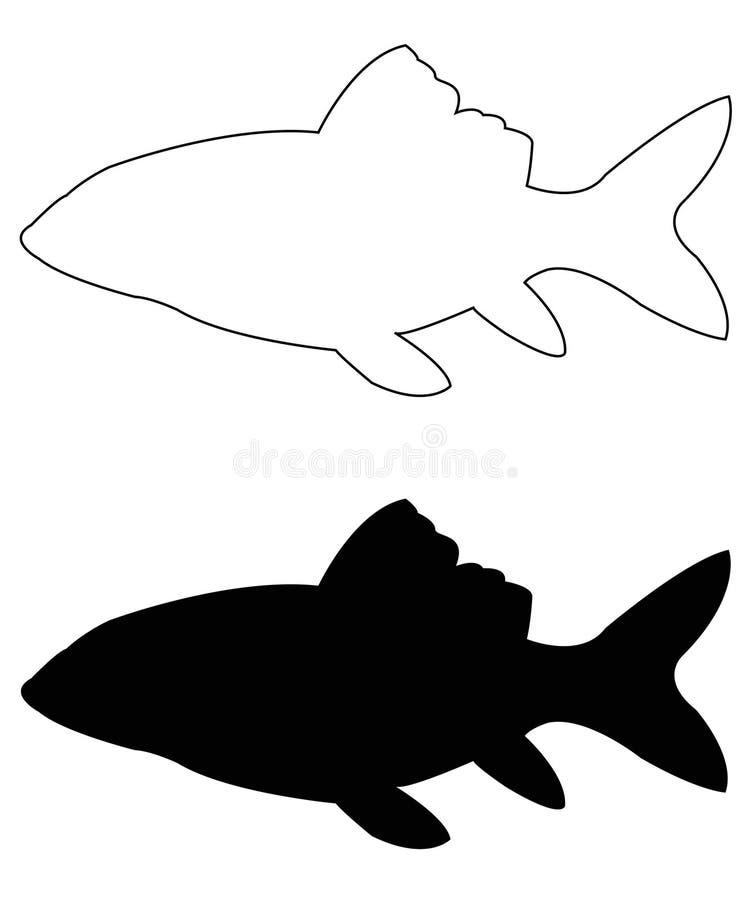 Silhouette de poissons - animaux aquatiques de craniate d'ouïe-incidence qui manquent des membres avec des chiffres illustration libre de droits