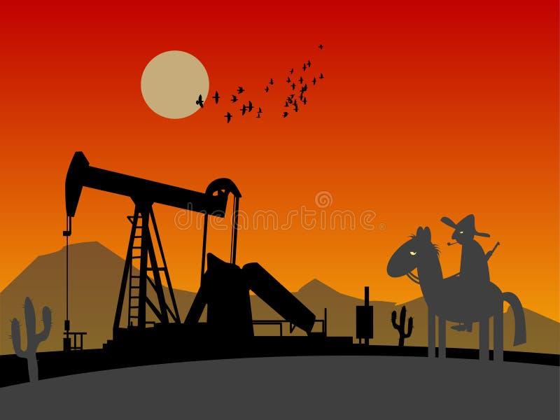 Silhouette de pompe de pétrole illustration de vecteur