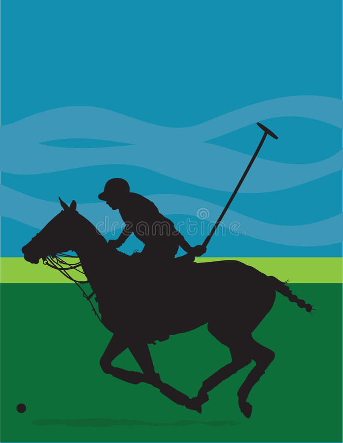 Silhouette de poney de polo illustration stock