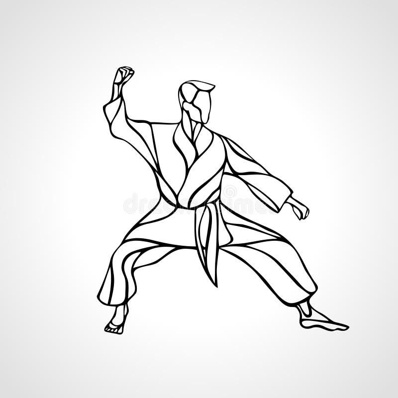 Silhouette de pose d'arts martiaux Combattant de karaté illustration de vecteur