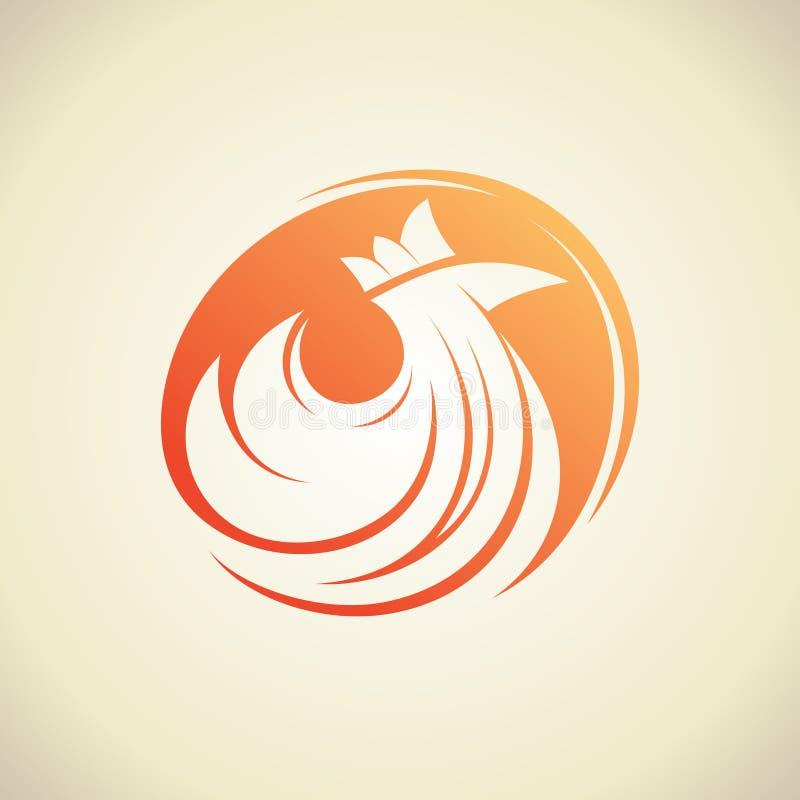 Silhouette de poule dans un logo de cercle illustration de vecteur