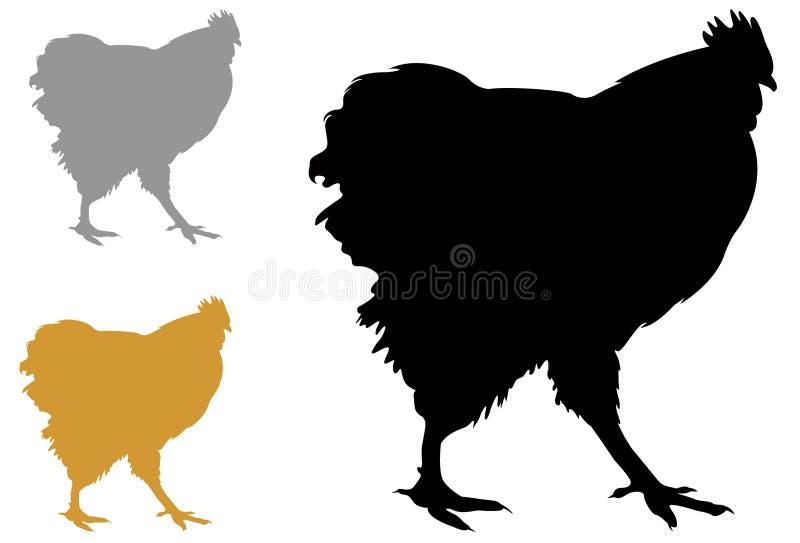 Silhouette de poulet ou de poule - oiseau domestique, volaille illustration libre de droits