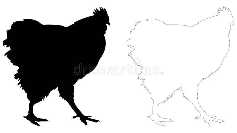 Silhouette de poulet ou de poule - oiseau domestique, volaille illustration stock