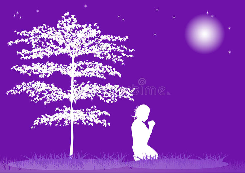 Silhouette de prière illustration libre de droits