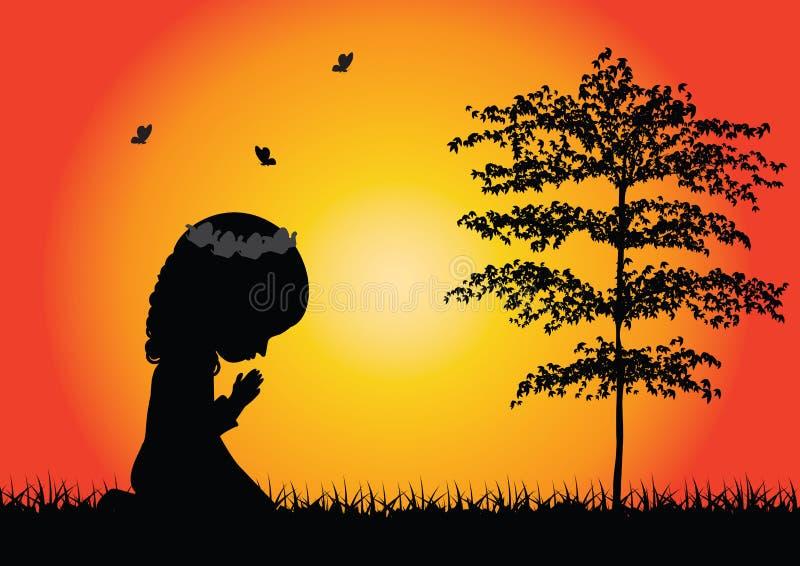 Silhouette de prière de petite fille illustration libre de droits