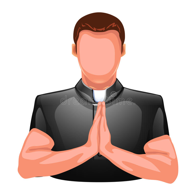 Silhouette de prière de prêtre illustration stock