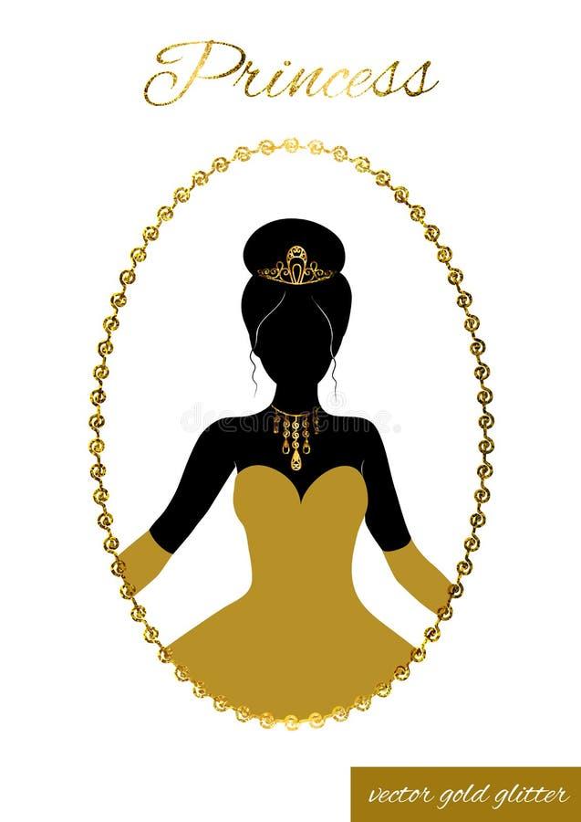 Silhouette de princesse dans le cadre de scintillement d'or camée illustration libre de droits