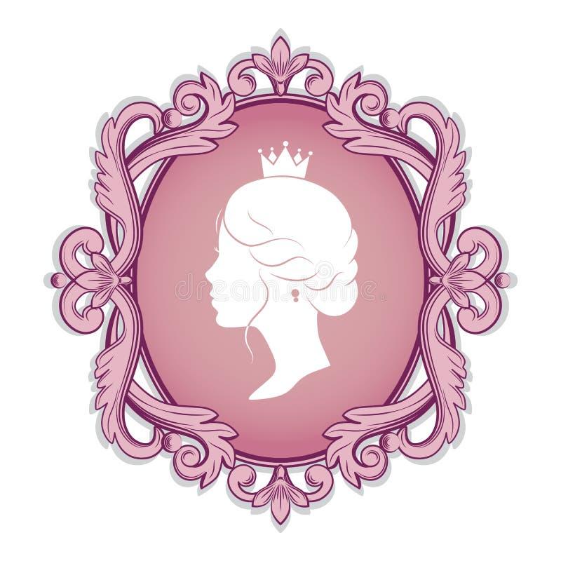 Silhouette de profil d'une princesse dans le cadre illustration libre de droits