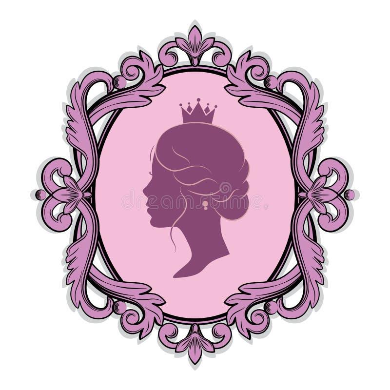 Silhouette de profil d'une princesse dans le cadre illustration de vecteur