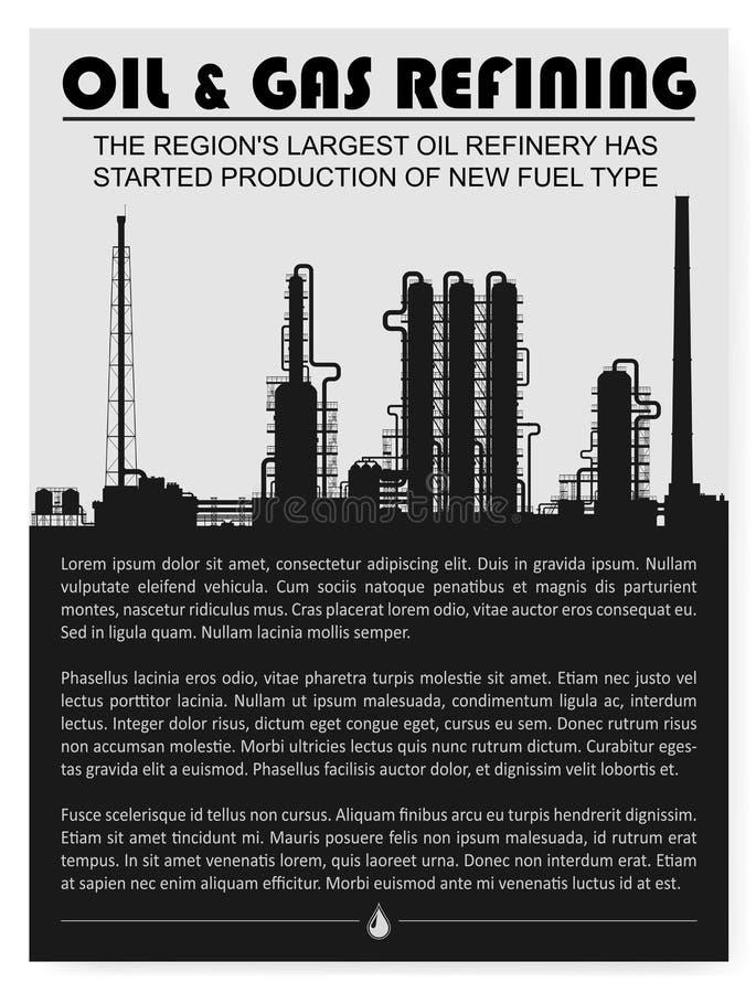 Silhouette de raffinerie de pétrole et de gaz ou d'usine chimique illustration stock