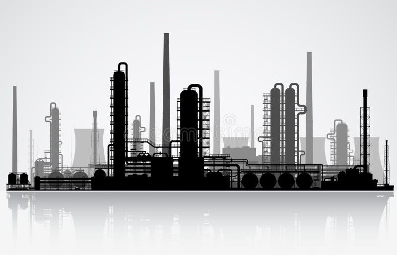Silhouette de raffinerie de pétrole Illustration de vecteur illustration stock
