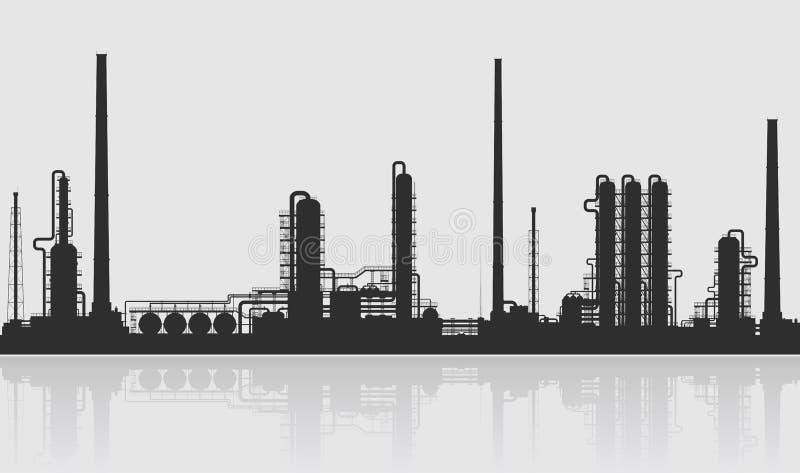 Silhouette de raffinerie de pétrole ou d'usine chimique illustration libre de droits
