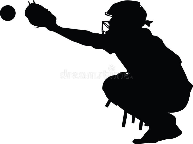 Silhouette de receveur de base-ball illustration de vecteur