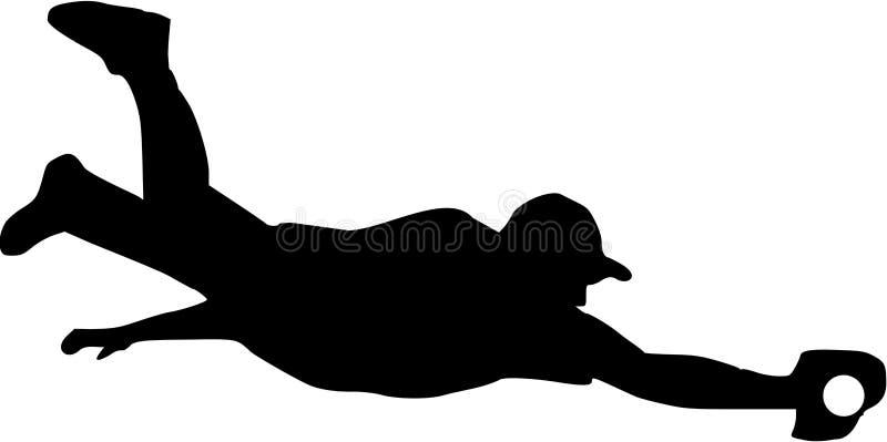 Silhouette de receveur de joueur de baseball illustration de vecteur